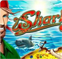 Картинка с улыбающимся рыбаком и акулой - игра Sharky в онлайн казино Плей Фортуна
